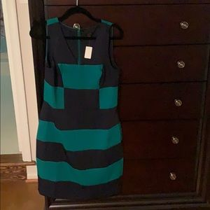Ann Taylor green and navy striped dress